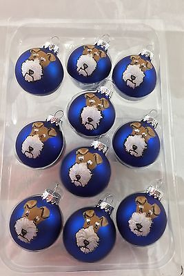 Set of 10 handpainted whimsical Wire Fox Terrier WFT  ornaments