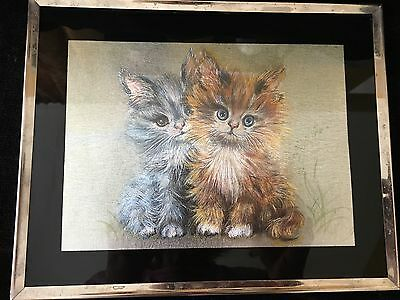 Vintage Kafka Pair of Kittens Foil Print #3061 Retro Early 1980's  Made in US