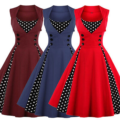 Women's Polka Dot Vintage 1950s Rockabilly Casual Evening Party Swing Dress