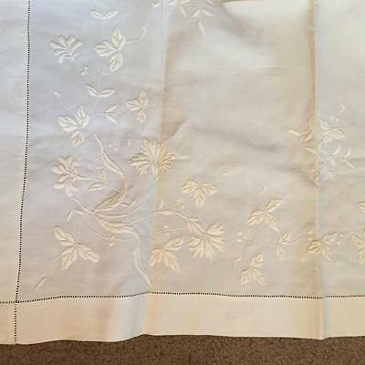 "Antique Hand Embroidered Linen Tea Tablecloth Flowers  31 x 31"" NR"