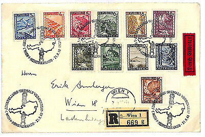 L299 1946 AUSTRIA Landscapes Issue Registered Express Cover {samwells-covers}