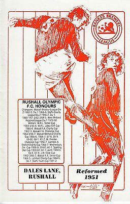 Rushall Olympic V Congleton Town - Staffs Senior Cup - 24/10/90