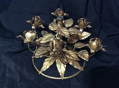 Antique Italian Tole Gold Guilded Metal Roses Candelabra Base Original Metal Tag