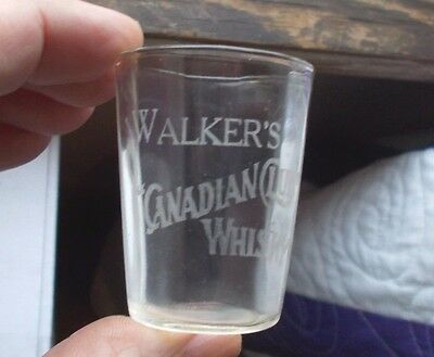 Walker's Canadian Club Whisky Etched Pre Pro Whiskey Advertising Shot Glass