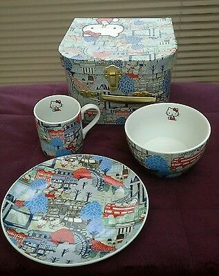 Liberty Hello Kitty London Print Mug, Bowl & Plate  Set In Carry Case
