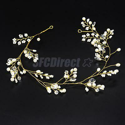 Wedding Party White Pearl Crystal Hair Accessories Crown Tiara Headband Band