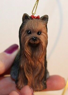 LHASA APSO brown/black dog Ornament HAND PAINTED Figurine NEW Christmas K9 puppy