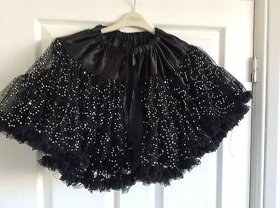 Girls Candy Canes Black Netted  + Silver Sequins Party Dance Skirt 6-7 Years