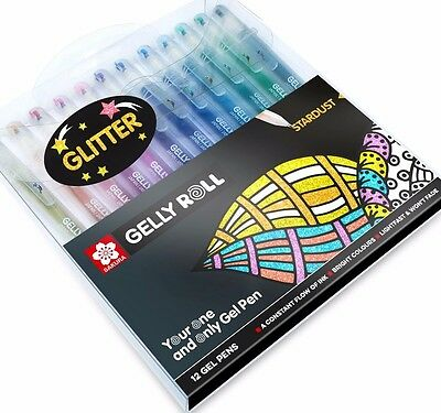 Sakura Gelly Roll Stardust Pen Set of 12 Pens, Paper Craft Card Making Gel Pens