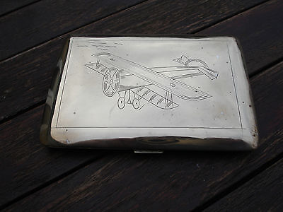 WW1 trench art Royal Flying Corp R.F.C. Cigarette case Engraved Major Fulton