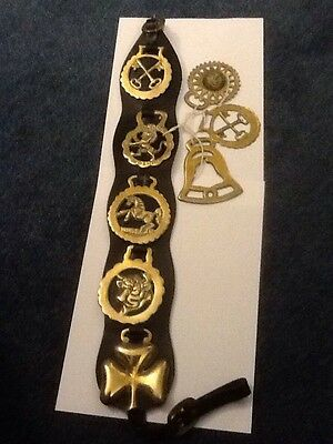 8 Horse Brasses - All Pub Signs - 5 On A Leather Strap