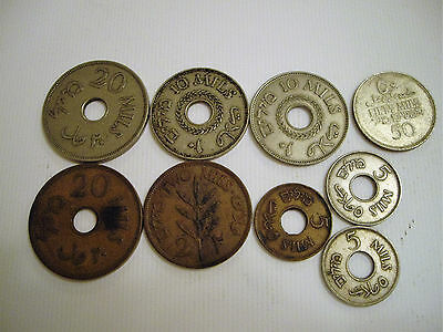 palestine coins 9 assorted