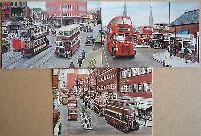 3 Art Postcards of old Buses in Coventry by G S Cooper.
