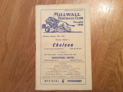 1960/1 Millwall v Chelsea.  League Cup Rd 1