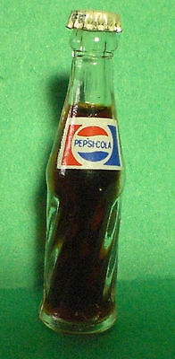 "Vintage 3"" Tall Miniature Swirl Glass Pepsi Cola Bottle"