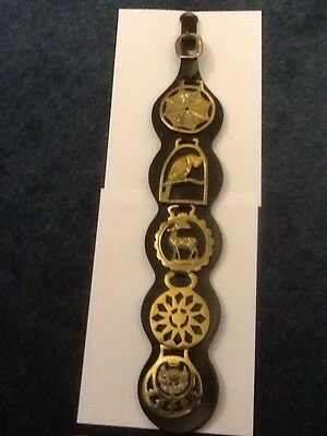 5 Horse Brasses On Leather Strap
