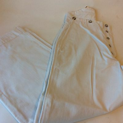 Vintage 1930's trousers white cotton button fly wide leg fishtail back