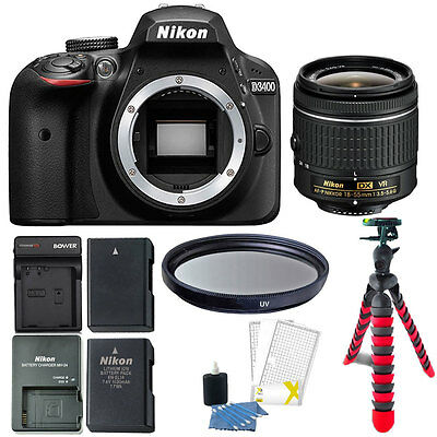 Nikon D3400 24.2 MP Digital SLR Camera with Valuable Top Accessory Bundle