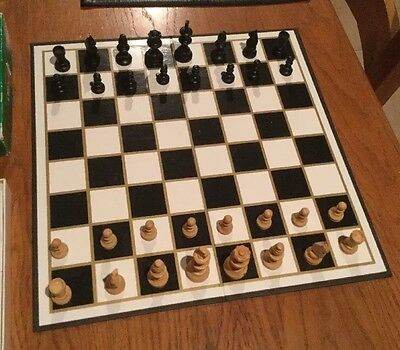 VINTAGE CHESS SET WOODEN W H SMITHS in Box