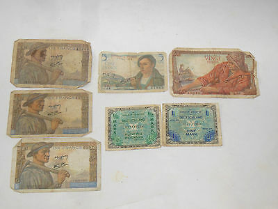 Lot Of 7 Wwii French & German Paper Money Francs Marks