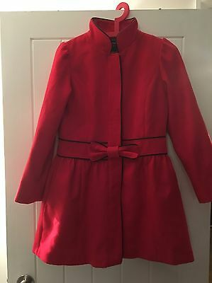Next Girls Red Wool Coat Age 11-12