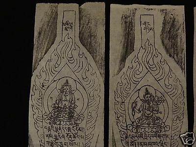Antique  Mongolian Buddhist Woodblock Offering Prints Set Of 5