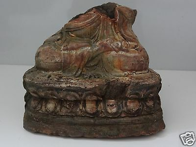 Antique Mongolia Mongolian Buddhist Hand Made Clay Statue Fragment