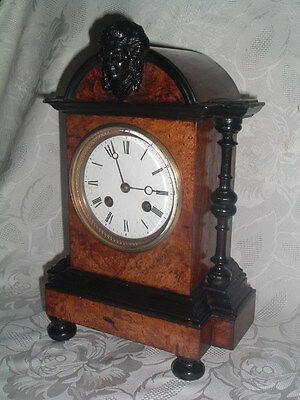 c 1870 HIGHLY ATTRACTIVE Ornate FRENCH bell striking MANTEL CLOCK Burr walnut