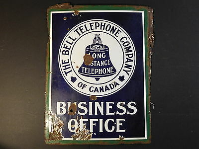 VERY RARE - Bell Telephone Company of Canada Business Office Porcelain Sign
