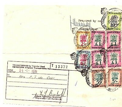 South Africa -Revenues on Transfer Deed document - £1 * 4, 10/-, 5/- *2