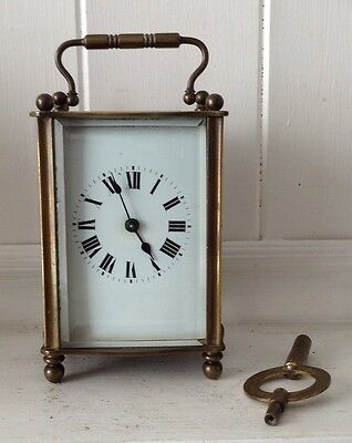 Antique, French, brass, carriage clock with bevelled glass