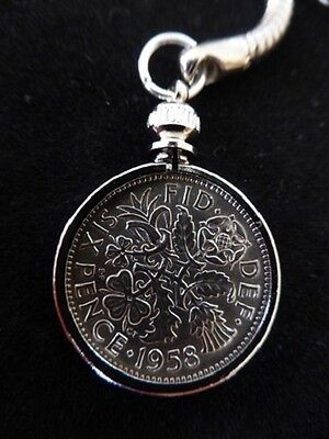 Lucky Sixpence Keyring 1947 - 1967 70th 65th 60th 50th Birthday, in a GIFT POUCH