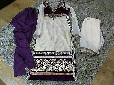 Indian 3-piece  Purple Pyjami Suit with Gold and crystal detail, Lined, vgc