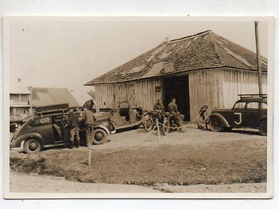 Original WW2 GERMAN PHOTOGRAPH-TROOPS MOTORCYCLES -VEHICLES