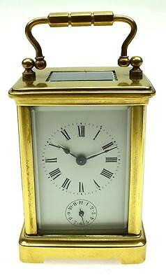 Miniature Antique French 8Day Ormolu Bronze & Glass Alarm Carriage Clock 19THC