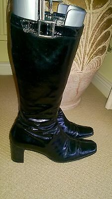 Hobbs Black Leather Patent Boot Leather Sole Size Uk 7/eu 40
