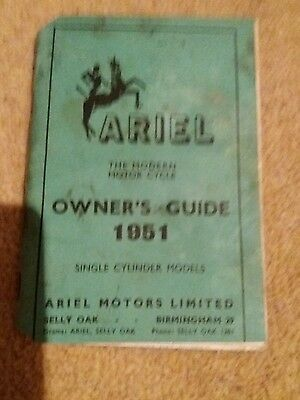 ariel 1951 motorcycle owners guide manual