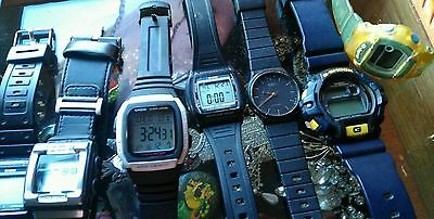 Lot of 12 Vintage CASIO Watches, Baby G, G Shock, Gms, Ten Year Battery & More.