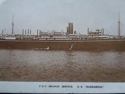 P & O Branch Service - S.S. Barrabool - Sepia RP - Posted 1923