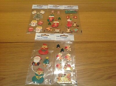 5 packs of habico Christmas Card Decorations Hand made embellishments