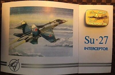 Su-27 Sukhoi official presentation pin/badge from Singapore'90 Int'l Airshow