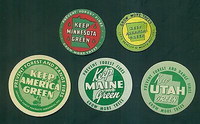1950's Prevent Forest Fires Keep America & Individual States Green Labels