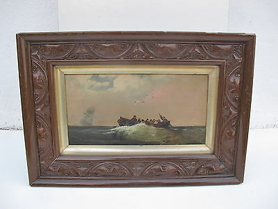Interesting Marine Oil Painting Of Figures In A Boat 19Th To Early 20Th Century