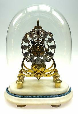 Victorian Single Fusee Skeleton Mantel Clock English 8 Day Dome & Marble Base