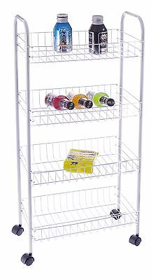 186-All For You 4-Tier Metal Storage Cart/Organizer with Wheels ( White color)