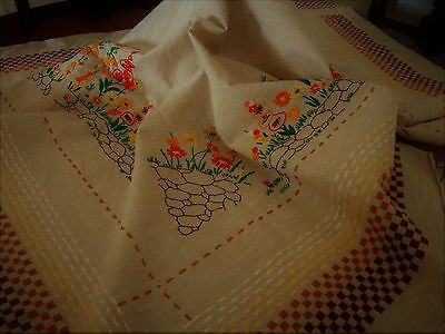 """Vintage:1930s Tablecloth:Hand Embroidered """"Yellow & Orange Flowers"""""""