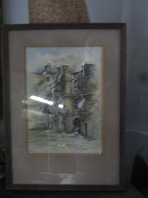 antique picture  etching Edinborough street scene colout tinted