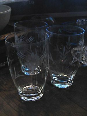 vintage cut glass crystal etched tumblers   glasses x 3