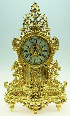 Amazing Quality Antique 19thc Large French Pierced Cast Bronze 8Day Mantel Clock