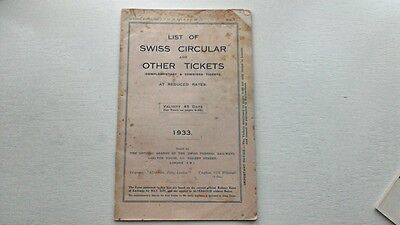 Swiss Federal Railways Circular & Other Tickets Timetable Fares 1933 Switzerland
